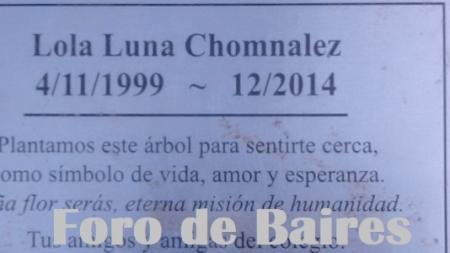 Una Placa en homenaje a Lola Luna Chomnalez la recuerda en el Parque Las Heras